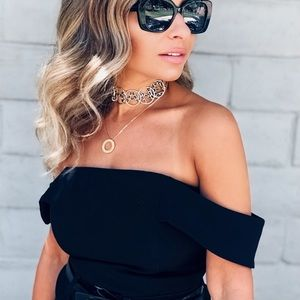 Chanel leather & gold choker necklace chain black